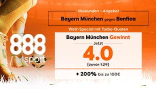 888sport – Erhöhte Quoten für das Spiel Bayern vs Benfica